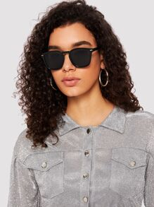 Metal Detail Plain Frame Sunglasses
