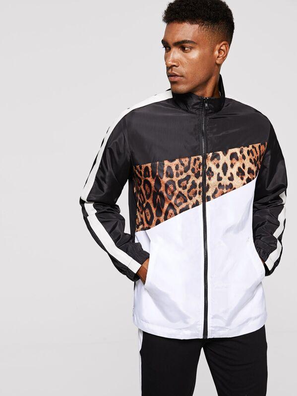 d6bfaf2168 Men Zip Up Color Block Leopard Print Jacket   SHEIN