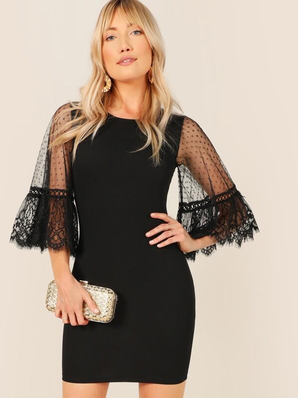 4531cf05b Dobby Mesh Eyelash Lace Bodycon Dress