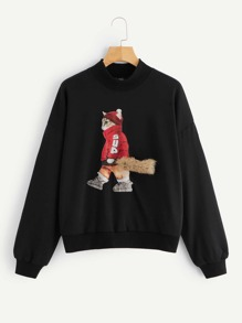 Faux Fur Detail Cartoon Print Pullover