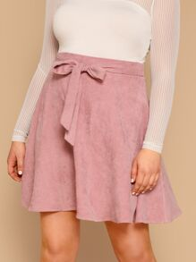 Plus Self Belted Flare Cord Skirt