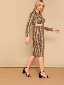 0728e5b93e Cheap Plus Crop Snakeskin Fitted Top & Pencil Skirt Set for sale Australia  | SHEIN