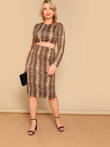 Plus Crop Snakeskin Fitted Top & Pencil Skirt Set