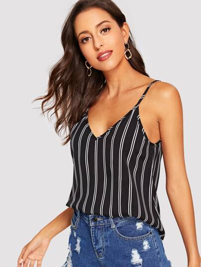 Double V-neckline Striped Cami Top
