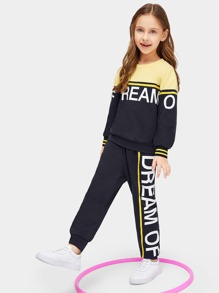 Girls Color Block Sweatshirt & Pants Set