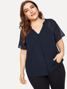 Plus Solid V-neck Sheer Blouse
