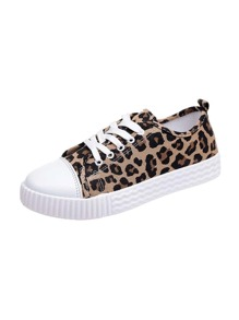 Leopard Pattern Lace-up Canvas Sneakers