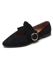 Point Toe Ruffle Decor Suede Flats