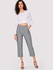 Solid Pleated Linen Pants