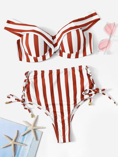 Striped Underwire Top With Tie Side Bikini