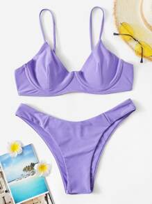 Underwire Seam Top With High Cut Bikini