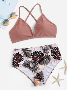 Criss Cross Top With Random Tropical Bikini