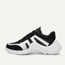 Two Tone Lace-up Chunky Sneakers