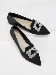 Rhinestone Decor Pointed Toe Flats