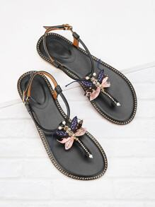 Rhinestone Decor Toe Post Flat Sandals