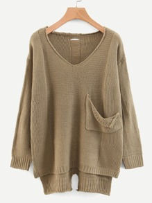 V-neck Pocket Front Dip Hem Sweater