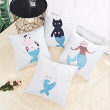 Cartoon Animal Print Cushion Cover 1pc