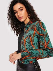 Two Tone Chain Print Blouse
