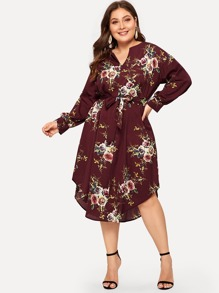 Plus Floral Print Self-tie Dress
