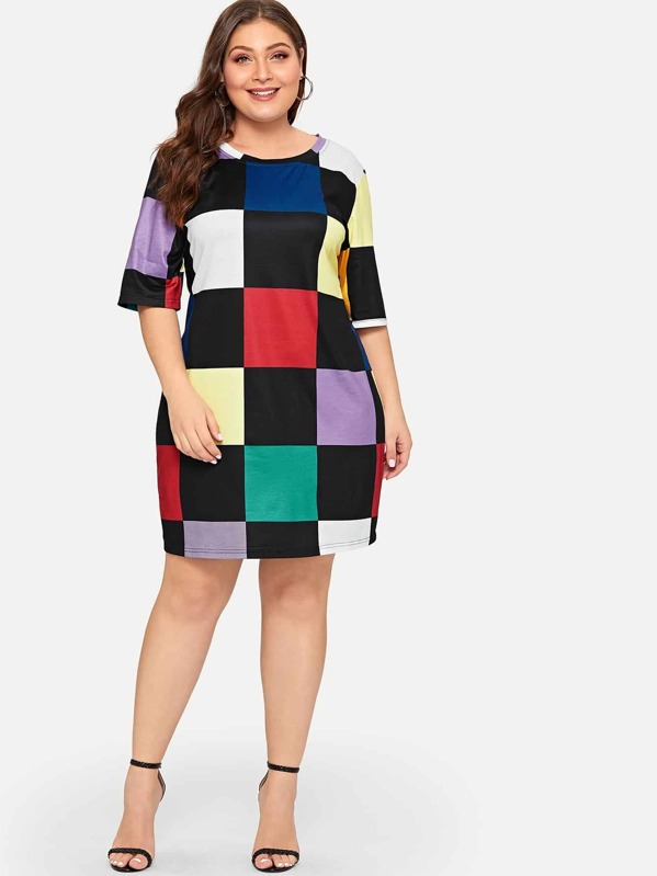 Plus Multicolor Plaid Dress
