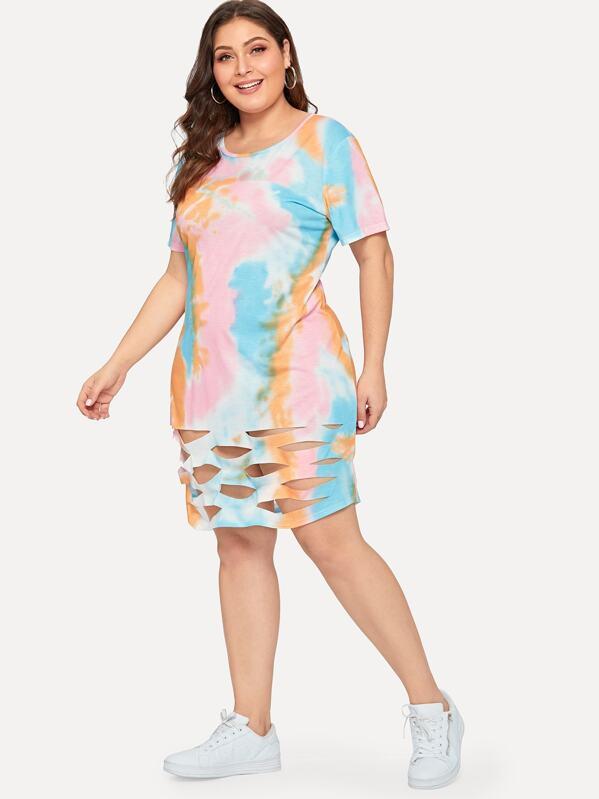 7e673673f68 Plus Cut Out Tie Dye Dress
