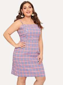 Plus Zip Back Plaid Cami Dress