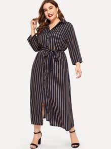 Plus Striped Belted Shirt Dress