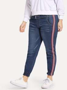 Plus Striped Tape Side Jeans