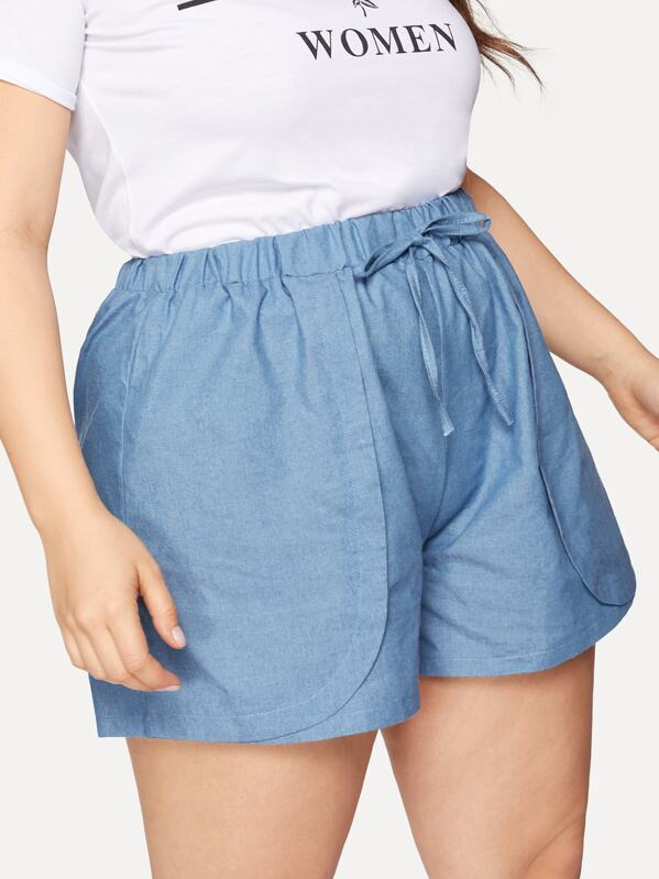 Plus Solid Drawstring Waist Denim Shorts by Sheinside