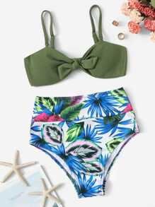 Knot Front Top With Random Leaf Bikini Set