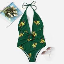 Random Floral Plunge Neck One Piece Swimwear