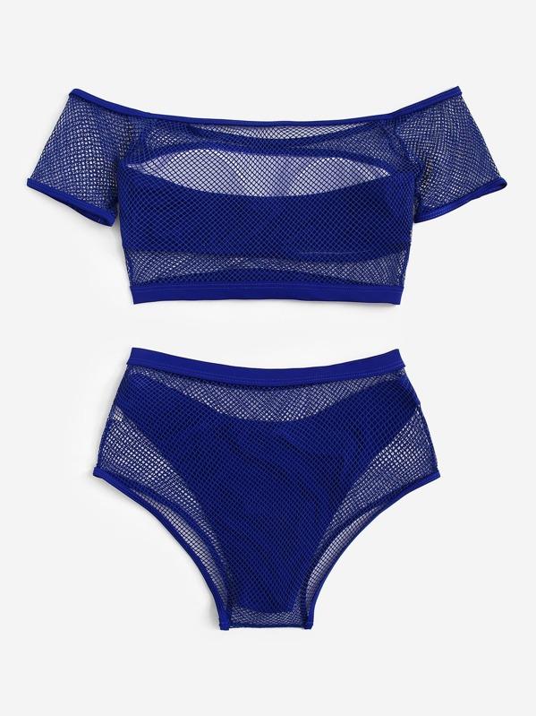 55452cb620 Off Shoulder Fishnet Overlay Bikini 4pack | SHEIN