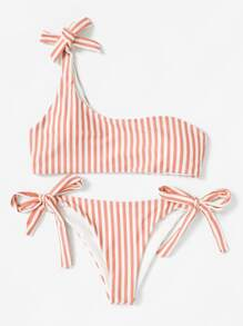 Striped One Shoulder Top With Tie Side Bikini
