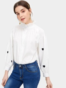 Heart Embroidery Ruffle Neck Blouse