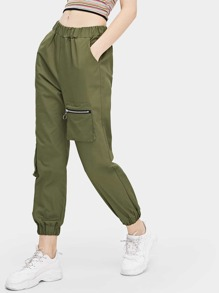 Zip And Pocket Detail Pants