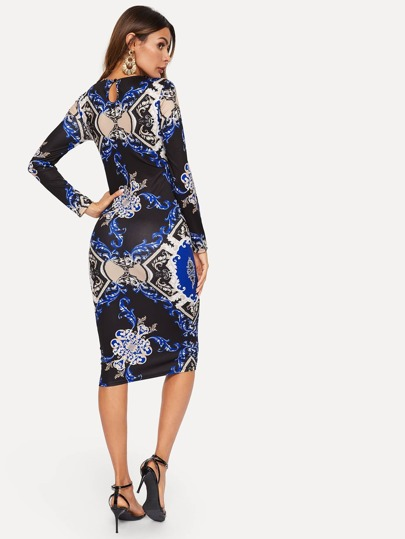 2d4b330111d Home · Clothing · Dresses  Damask Print Keyhole Back Bodycon Dress