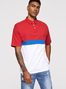 Men Color Block Polo Shirts