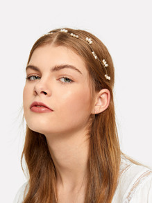 Faux Pearl Detail Lace-up Headpieces