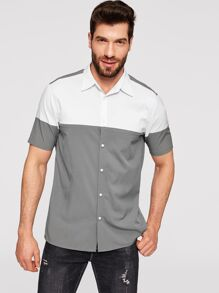 Men Tow Tone Button Up Shirt