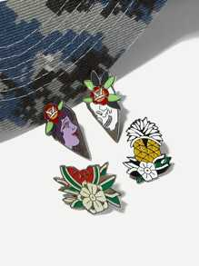 Figure & Flower Brooch Set 4pcs