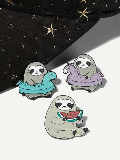Cartoon Sloth Design Brooch Set 3pcs
