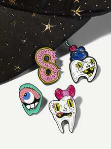 Teeth & Lip Brooch Set 4pcs