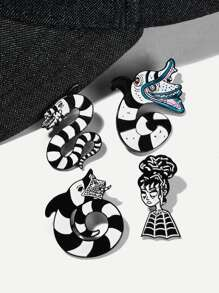 Snake & Figure Brooch Set 4pcs
