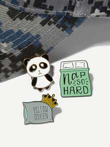 Panda & Bed Brooch Set 3pcs