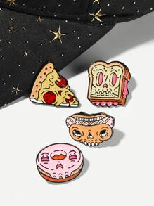 Pizza & Bread Brooch Set 4pcs