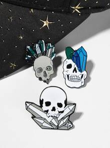 Skeleton & Crystal Shaped Brooch Set 3pcs