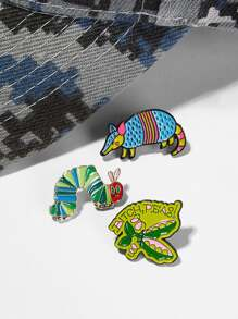 Caterpillar & Pea Brooch Set 3pcs