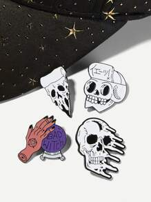 Skeleton & Hand Brooch Set 4pcs
