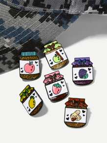 Fruit Detail Bottle Brooch Set 6pcs