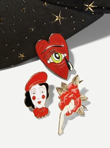 Figure & Heart Brooch Set 3pcs